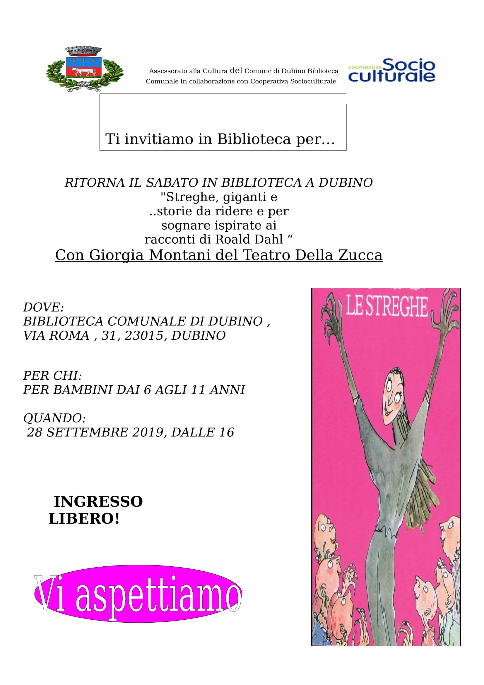 Volantino Lettura Road Dahl Biblio Dubino (SO) sett 2019-1